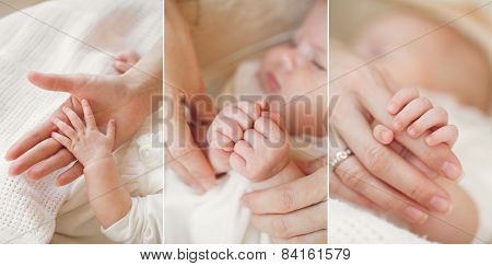 Collage of a newborn baby in his mother's arms.