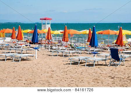 Sunny Beach In Lignano Sabbiadoro
