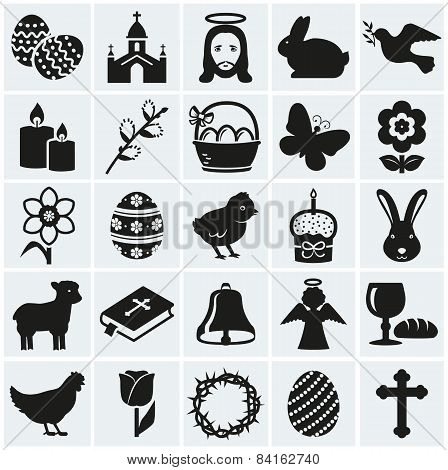 Easter Icons. Set Of Black Vector Symbols.