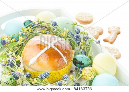 Hot Cross Buns And Easter Decorations