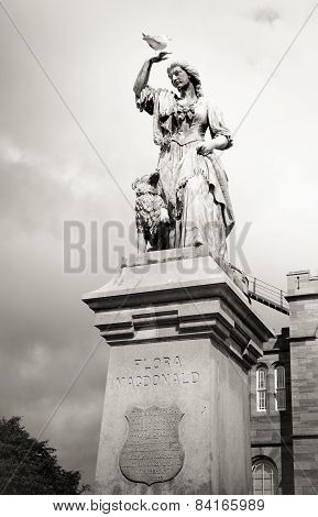 Black And White Vintage Flora Macdonald Statue Inverness, Scotland