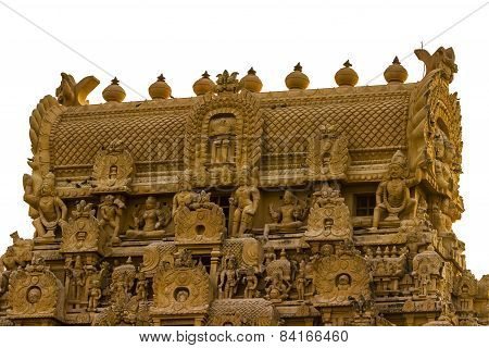 Zoomed or Close-up view of the gopura or tower of Brahadeewarar temple, Thanjavur