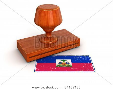 Rubber Stamp Haitian flag (clipping path included)