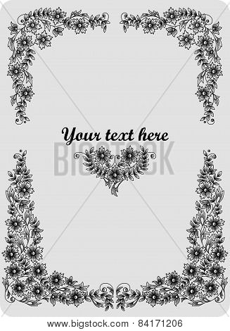 Retro Floral Frame, For Design, Retro Background, Flower