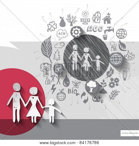 Paper and hand drawn family emblem with icons background