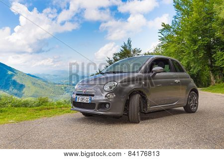 Fiat 500 Parked In The French Pyrenees