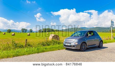 Fiat 500 Parked In The French Countryside