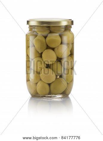 Glass Jar Of Pickled Geen Olives