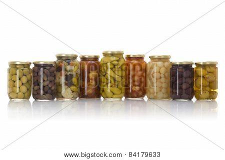 Glass Jars Of Pickled Vegetables