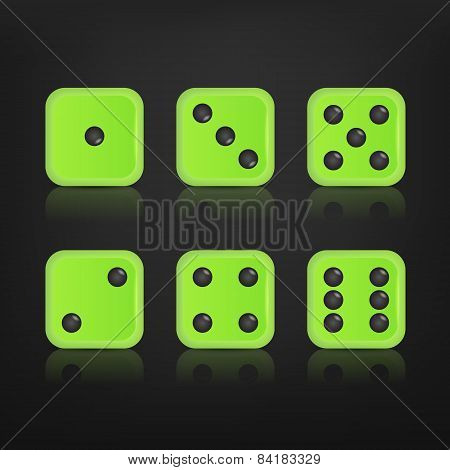 Dice for games turned on all sides.