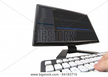 Developer Working On Web Site Codes On Computer Monitor