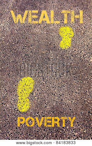 Yellow Footsteps On Sidewalk From Poverty To Wealth Message. Concept Image