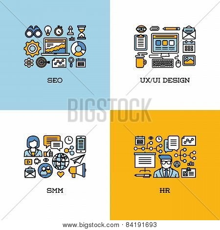 Flat line icons set of SEO UI and UX design SMM HR. Creative design elements for websites mobile apps and printed materials poster