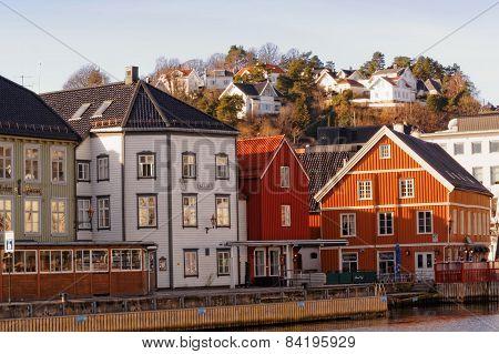 Bryggen Buildings In Arendal, Norway