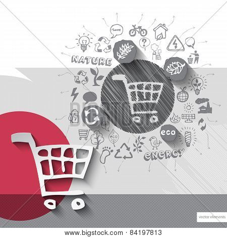 Paper and hand drawn shopping cart emblem with icons background