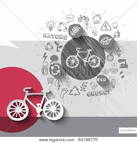 Paper and hand drawn bike emblem with icons background