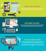 Software development workflow process coding testing analysis concept banner in flat design. Testing video games. Game development concept with item icons. Repairing mobile phone concept. Crash test phones poster