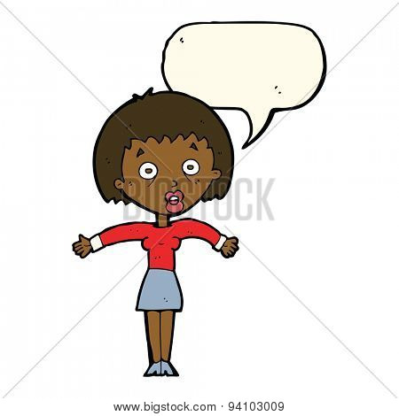 cartoon woman shrugging shoulders with speech bubble poster
