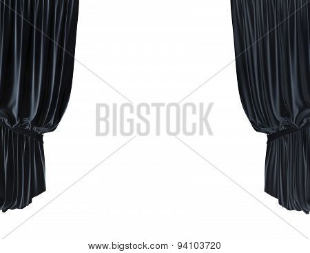 Empty Stage With Blue Velvet Courtain Illustration