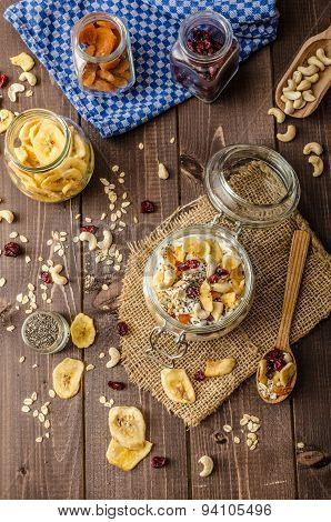 Homemade yogurt with granola dried fruit and nuts bio - cia seed - most healthy seed apricot and banana dried fruit poster