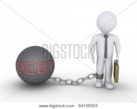 Businessman With A Debt Chain Ball