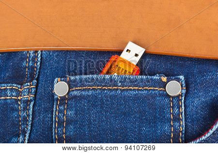 USB flash memory in jeans pocket - technology background poster