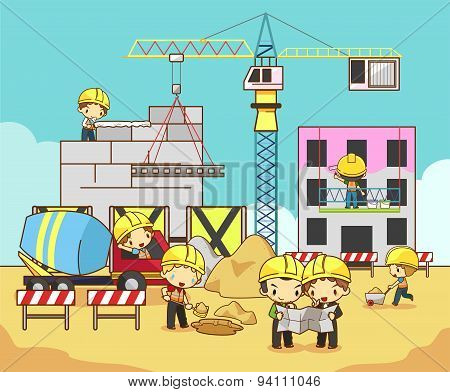 Cartoon Children Engineer, Technician, And Labor Worker Working On A Construction Site Building, Cre