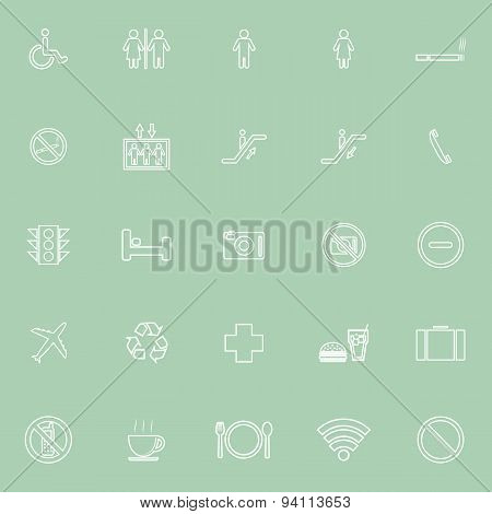Public Line Icons On Green Background