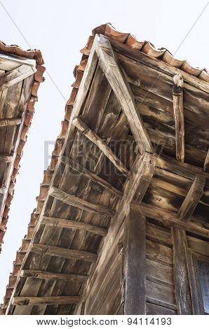 Old  Two Wooden Eaves On Close House , Bulgaria
