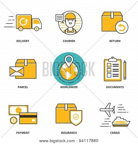 Logistics And Delivery Vector Icons Set