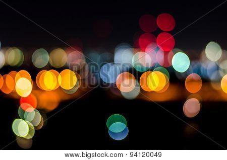 Urban City Night Light Bokeh , Defocused Blur Background