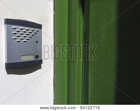 Old Intercom Over Green