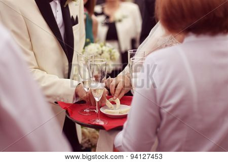 Waiter Serving For A Wedding