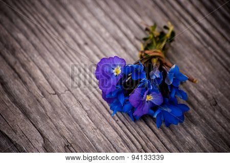 Bouquet Of Violet Flowers Viola Odorata On A Wooden Background