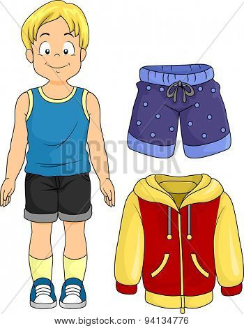 Illustration of a Little Boy Standing Beside Typical Clothes for Boys
