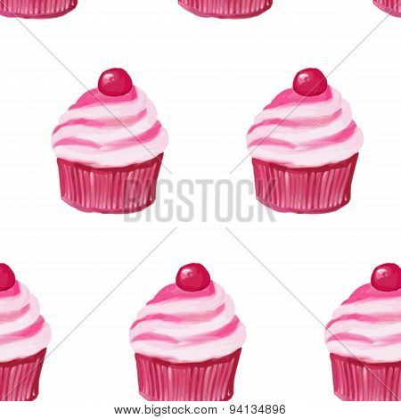 vector illustrations pattern cake with cream. of the drawing oil.