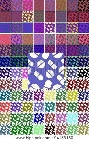 Set pattern of tablets, pills, capsules. Backgrounds  medical concept.