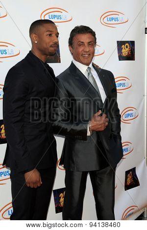 LOS ANGELES - JUN 6:  Michael B Jordan, Sylvester Stallone at the Lupus LA Orange Ball  at the Fox Studios on June 6, 2015 in Century City, CA