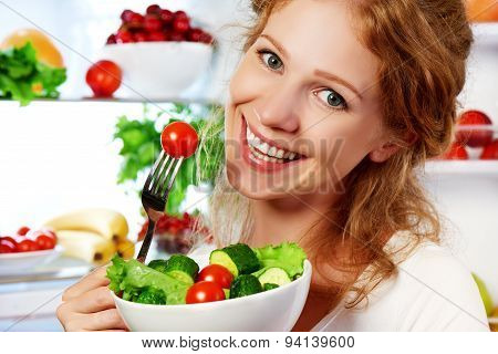 Woman Eats Healthy Food Vegetable Vegetarian Salad About Refrigerator
