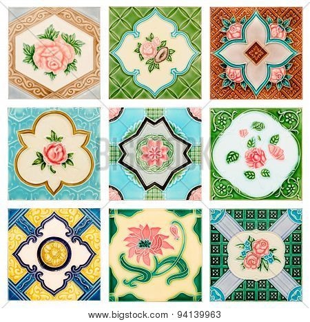 Vintage Style Old Tile Decorative Surface Flower