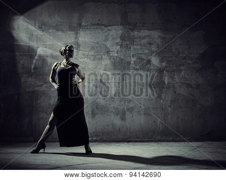 Woman Dancer, Concrete Building Surroundings