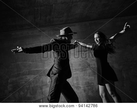 Man And Woman Dancing, Concrete Building Surroundings