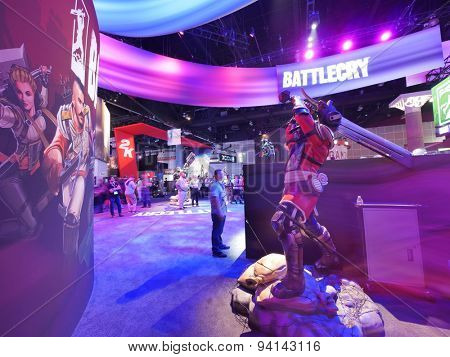 LOS ANGELES - June 17: Battlecry video game booth at E3 2015 expo. Electronic Entertainment Expo, commonly known as E3, is an annual trade fair for the video game industry
