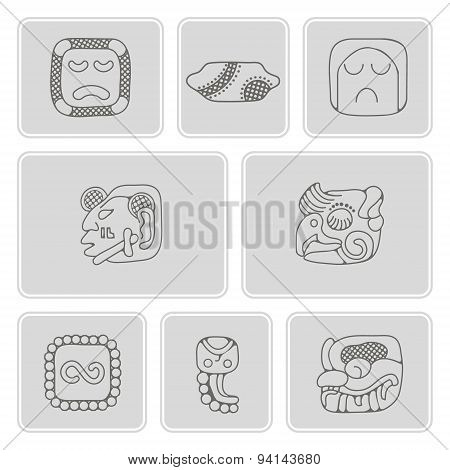 set of monochrome icons with American Indians relics dingbats characters (part 14)