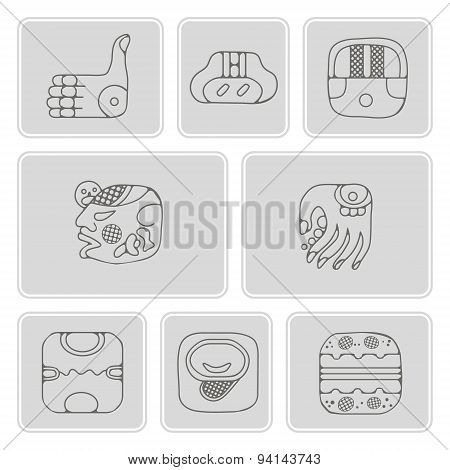set of monochrome icons with American Indians relics dingbats characters (part 13)