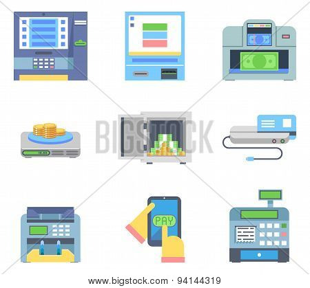 Banking Payment ATM Money Cash Check Machines Flat Icon Isolated Set Vector Illustration
