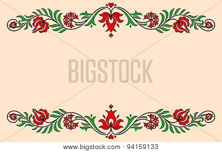 Vintage Label With Traditional Hungarian Floral Motives