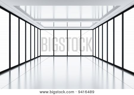 Modern empty room with light from windows poster
