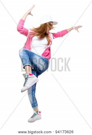 Young Hip Hop Dancer Dancing Isolated On White Background.
