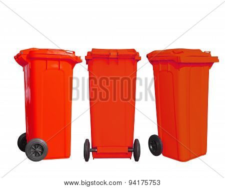 Isolated Red Garbage Bin